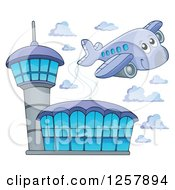 Clipart Of A Cute Happy Airplane Flying Over An Airport Royalty Free Vector Illustration