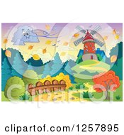 Clipart Of A Cloud Blowing A Breeze Towards A Windmill In Autumn Royalty Free Vector Illustration by visekart