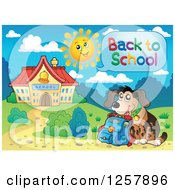 Clipart Of A Student Dog Saying Back To School Outside A Building Royalty Free Vector Illustration