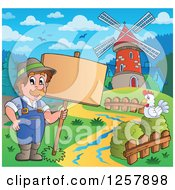 Clipart Of A Happy Male Farmer And Chicken With A Wood Sign And A Windmill Royalty Free Vector Illustration by visekart