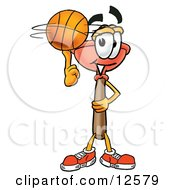 Sink Plunger Mascot Cartoon Character Spinning A Basketball On His Finger by Toons4Biz