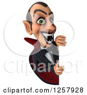 Clipart Of A 3d Dracula Vampire Baring His Fangs Around A Sign Royalty Free Illustration