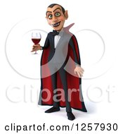 Clipart Of A 3d Dracula Vampire Holding A Glass Of Wine Or Blood Royalty Free Illustration