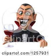 Clipart Of A 3d Dracula Vampire Holding A Glass Of Wine Or Blood Over A Sign Royalty Free Illustration