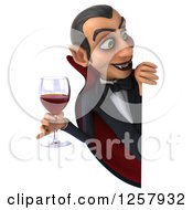 Clipart Of A 3d Dracula Vampire Holding A Glass Of Wine Or Blood Around A Sign Royalty Free Illustration