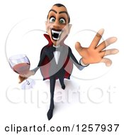 Clipart Of A 3d Attacking Dracula Vampire Holding A Glass Of Wine Or Blood Royalty Free Illustration
