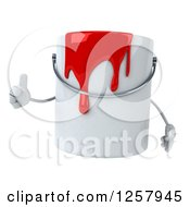 Clipart Of A 3d Can Of Red Paint Character Holding A Thumb Up Royalty Free Illustration