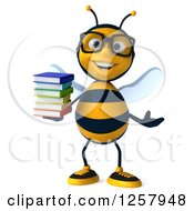 Clipart Of A 3d Bespectacled Bee Holding A Stack Of Books Royalty Free Illustration