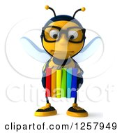 Clipart Of A 3d Sad Bespectacled Bee Holding A Stack Of Books Royalty Free Illustration