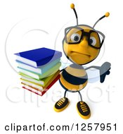 Clipart Of A 3d Sad Bespectacled Bee Holding A Thumb Down And Stack Of Books Royalty Free Illustration