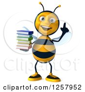 Clipart Of A 3d Smart Bee Holding A Stack Of Books Royalty Free Illustration