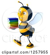 Clipart Of A 3d Bee Walking With A Stack Of Books Royalty Free Illustration