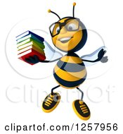 Clipart Of A 3d Bespectacled Bee Jumping And Holding A Stack Of Books Royalty Free Illustration