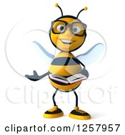 Clipart Of A 3d Bespectacled Bee Presenting And Holding A Book Royalty Free Illustration