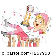 Happy Blond White Baseball Player Girl With Confetti And A Trophy And Team Holding Her Up