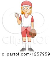Clipart Of A Happy Red Haired White Girl Pitcher Holding A Baseball Royalty Free Vector Illustration