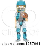 Clipart Of A Happy Blond White Girl Baseball Catcher Standing Royalty Free Vector Illustration
