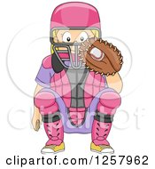 Clipart Of A Happy Blond White Girl Baseball Catcher Crouching Royalty Free Vector Illustration by BNP Design Studio