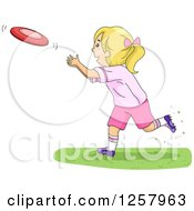 Clipart Of A Happy Blond White Girl Throwing A Frisbee Royalty Free Vector Illustration by BNP Design Studio