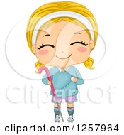 Clipart Of A Happy Blond White Girl Smiling And Holding A Field Hockey Stick And Ball Royalty Free Vector Illustration