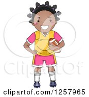 Clipart Of A Happy Black Girl Standing And Holding A Football Royalty Free Vector Illustration by BNP Design Studio