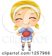Clipart Of A Happy Blond White Girl Holding A Frisbee Royalty Free Vector Illustration by BNP Design Studio