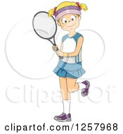 Clipart Of A Happy Blond White Girl Holding A Tennis Racket Royalty Free Vector Illustration