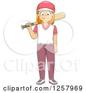Clipart Of A Happy Red Haired White Girl Standing With A Baseball Bat Royalty Free Vector Illustration