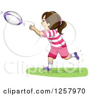 Clipart Of A Happy Brunette White Girl Catching A Rugby Ball Royalty Free Vector Illustration by BNP Design Studio