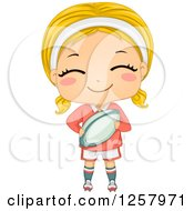 Clipart Of A Happy Blond White Girl Holding A Rugby Ball Royalty Free Vector Illustration