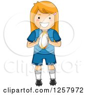 Clipart Of A Happy Strawberry Blond White Girl Holding A Rugby Ball Royalty Free Vector Illustration by BNP Design Studio