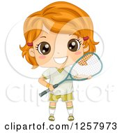 Clipart Of A Happy Red Haired White Girl Holding A Squash Racket Royalty Free Vector Illustration by BNP Design Studio