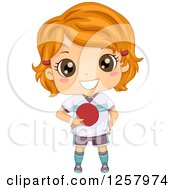 Clipart Of A Happy Red Haired White Girl Holding A Table Tennis Paddle Royalty Free Vector Illustration by BNP Design Studio