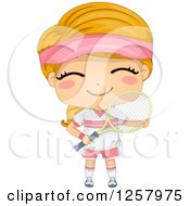 Clipart Of A Happy Blond White Girl Smiling And Holding A Tennis Racket Royalty Free Vector Illustration by BNP Design Studio