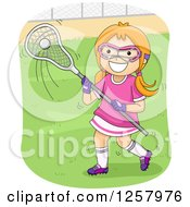 Clipart Of A Happy Red Haired White Girl Playing Lacrosse Royalty Free Vector Illustration by BNP Design Studio