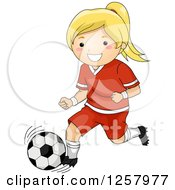 Clipart Of A Happy Blond White Girl Running With A Soccer Ball Royalty Free Vector Illustration