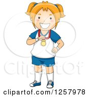 Clipart Of A Happy Red Haired Sporty White Girl Showing Off Her Medal Royalty Free Vector Illustration