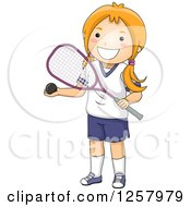Clipart Of A Happy Red Haired White Girl Holding A Squash Ball And Racket Royalty Free Vector Illustration by BNP Design Studio