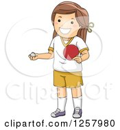 Clipart Of A Happy Brunette White Girl Holding A Table Tennis Paddle And Ping Pong Ball Royalty Free Vector Illustration by BNP Design Studio