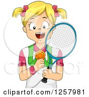 Clipart Of A Happy Blond White Girl Holding A Tennis Racket And Medal Royalty Free Vector Illustration