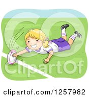 Clipart Of A Happy Blond White Girl Playing Rugby Royalty Free Vector Illustration