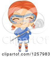 Clipart Of A Happy Red Haired White Girl Holding A Lacrosse Stick Royalty Free Vector Illustration