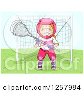 Clipart Of A Happy Blond White Lacrosse Girl Goalie Royalty Free Vector Illustration