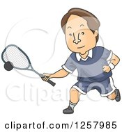 Clipart Of A Brunette White Man Playing Squash Royalty Free Vector Illustration