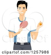 Clipart Of A Young Man Holding A Ping Pong Ball And Table Tennis Paddle Royalty Free Vector Illustration