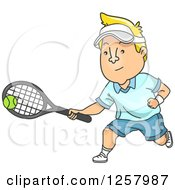 Clipart Of A Blond White Man Playing Tennis Royalty Free Vector Illustration