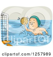 Clipart Of A White Man Playing Water Polo Royalty Free Vector Illustration by BNP Design Studio
