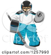 Clipart Of A Goalie Man In Ice Hockey Gear Royalty Free Vector Illustration by BNP Design Studio