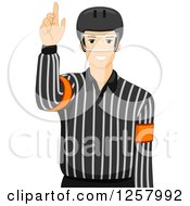 Clipart Of A Young Male Ice Hockey Umpire Royalty Free Vector Illustration by BNP Design Studio