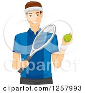 Clipart Of A Young Man Holding A Tennis Ball And Racket Royalty Free Vector Illustration
